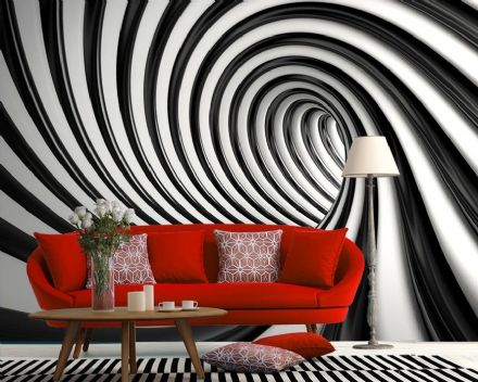 Wall mural wallpaper black & white swirl